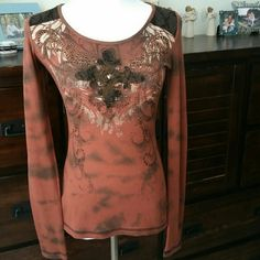 Miss Me thermal top Excellent used condition. No holes. No stains.  Fits a small perfect and tight for a medium. Depends on your preference. ⚠Single item offers thru offer tab ONLY/bundles receive 15% off using bundle feature⚠ ❌No trades ❌No other sites ❌No pay pal (375) Miss Me Tops