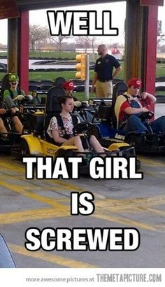 She didn't know she signed up for real life Mario Cart! Haha!