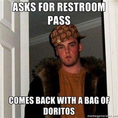 Asks for restroom pass Comes back with a bag of Doritos | Scumbag Steve