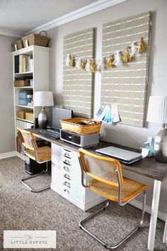 Love this organized office space and those cool vintage chairs eclecticallyvintage.com