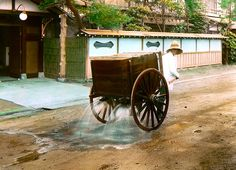 THE WATER WAGON MAN IN OLD JAPAN -- Keeping the Dust Down in a High Class Neighborhood, via Flickr.