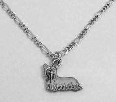 Pewter Yorkshire Terrier Pendant On A Silver Tone Figaro Chain Necklace -5491