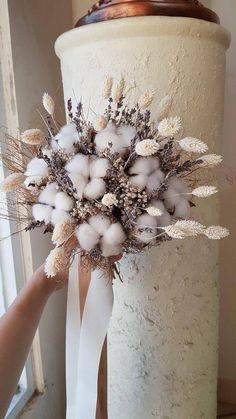 Hand Bouquet, Dried Flower Bouquet, Flower Bouquet Wedding, Dried Flowers, Floral Wedding, Rustic Wedding, Boho Wedding, Cotton Bouquet, Dried Flower Arrangements