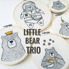 Embroidery Projects This digital tutorial gives you everything you need to complete 3 x Little Bear Trio embroidery hoops PATTERNS INCLUDED: * Little Bear Embroidery Materials, Modern Embroidery, Diy Embroidery, Embroidery Designs, Embroidery Hoops, Sewing Stitches, Hand Embroidery Stitches, Cross Stitch Embroidery, Machine Embroidery