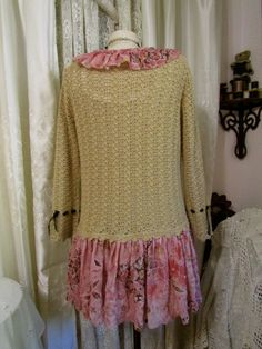 Upcycled Bohemian Sweater vintage cotton crochet by GrandmaDede