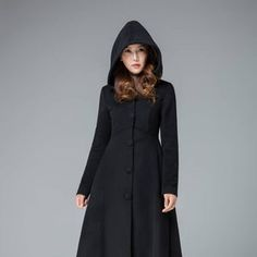 Women's Winter Single breasted wool Coat red swing hooded | Etsy Hooded Wool Coat, Hooded Winter Coat, Long Wool Coat, Black Wool Coat, Blue Wool, Gray Coat, Stylish Winter Coats, Winter Coats Women, Coats For Women