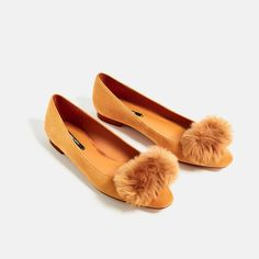 57ba473ea6d NWT ZARA LEATHER POMPOM BALLERINAS SHOES SIZE 6, 6.5, 8 Second item ship  FREE