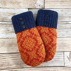 upcycled, felted wool and DOUBLE lined. Orange and blue. Wool, mohair blend Excited to share this item from my shop: Sweater Mittens – Super Warm! upcycled, felted wool and DOUBLE lined. Orange and blue. Sweater Mittens, Wool Sweaters, Felted Wool, Wool Felt, Sewing Projects, Sewing Ideas, Blue Wool, Embroidered Flowers, Fabric Art