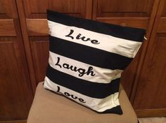 Live Laugh Love Pillow Cover black and white Gorgeous Accent Pillow 20 x 20 - Also can customize