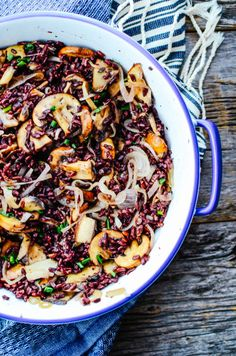 A delicious mushroom and black rice salad to serve up this holiday season. Eat it as a side or as your main dish for lunch or dinner.