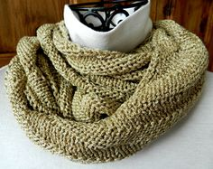 Infinity Scarf Gold Metallic Scarf Knit Gold Cowl Circle by Cozy