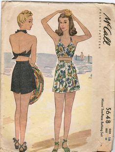 """McCalls 5648 copyright 1944 Two piece bathing suit or play suit 34"""" Bust Halter requires 3/8 yd 54"""" + 3/8 yd lining Shorts require 1 1/8 yd"""