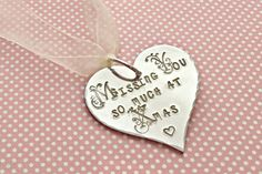 Missing you so much at Christmas, missing you, miss you, Christmas tree decoration, Remembrance, Remembrance gift, uk seller, Norfolk, by EBMetalStampingCraft on Etsy https://www.etsy.com/uk/listing/552078040/missing-you-so-much-at-christmas-missing