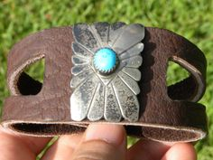 Ketoh Bracelet Vintage  Sterling Silver Turquoise signed  by Native Indian Navajo RSP handcrafted cuff genuine Buffalo Bison leather by BuffaloMen on Etsy