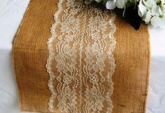 Burlap and Lace Table Runner-12 width, Rustic/Shabby Chic/Country/Barn Wedding Reception, Ivory or White Lace in Middle, Holiday Party Table Burlap and lace table runners are a beautiful addition to the rustic, country, shabby chic wedding, holiday party table or home decor. This