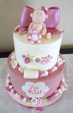 cake for baby girl cake girls pink baby showers pink bows cake