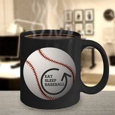 Baseball Mug Baseball Cup Eat Sleep Baseball Baseball Baseball Cup, Baseball Coach Gifts, Mom Mug, Funny Coffee Mugs, Custom Mugs, Mug Designs, Your Best Friend, Boyfriend Gifts, Special Gifts