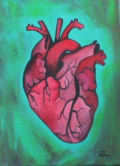 Beating Heart Anatomical Human Original Acrylic by DannaLivingston