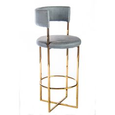 Modern metal bar stool with faux leather seat that has linen fabric look.<br/>Very easy to clean.
