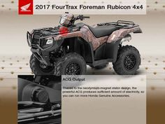 New 2017 Honda FourTrax Foreman Rubicon 4x4 EPS ATVs For Sale in Washington. 2017 Honda FourTrax Foreman Rubicon 4x4 EPS, *NOVEMBER SPECIAL* For the month of November when you purchase any Honda ATV or Side by Side, enjoy a Hotel stay and Dinner for 2 on us, at the ANGEL OF THE WINDS Casino-Hotel-Brewery. TRX500FM6H This offer limited to stock numbers shown. VIN number available upon request. Prices subject to change and exclude dealer set up, taxes, title, freight and licensing. 2017 Honda®…