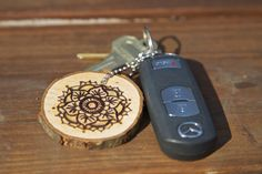 mandala woodburned keychain
