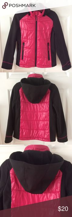 "GIRLS London Fog Mid-weight Puffer Coat w/ Hood GIRLS London Fog Mid-weight Puffer Coat w/ Detachable Hood.  Scuba material sleeves, puffer center/back. Size 14/16 Large. Measures 18"" flat under arms, 21.5"" long. This item has been worn, washed and is in very good overall condition. No stains. My daughter's name is on tag. London Fog Jackets & Coats"