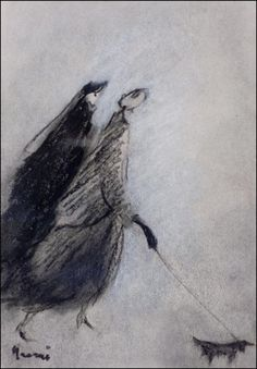 Sunnuntaikävelyllä - På söndagspromenad by Elvi Maarni Finland Finland, Surrealism, Whale, Paintings, Dogs, Animals, Art, Art Background, Whales