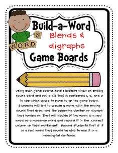 Students will practice building real and nonsense short vowel words with blends and digraphs using the colorful gameboards for each vowel sound....