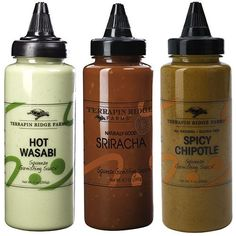 Spicy Squeeze Garnishing Sauce 3-pack Gift Set including Hot Wasabi, Sriracha & Chipotle squeeze garnishing sauce by Terrapin Ridge Farms. Spicy Food Lovers