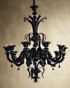 """black murano chandelier """"Venetian Noir"""""""