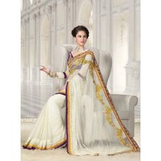 Sarees Online: Shop the latest Indian Sarees at the best price online shopping. From classic to contemporary, daily wear to party wear saree, Cbazaar has saree for every occasion. Latest Indian Saree, Indian Sarees Online, Buy Sarees Online, Indian Designer Sarees, Designer Sarees Online, Off White Saree, Trendy Sarees, Indian Outfits, Indian Clothes