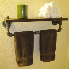 Recycled Metal Projects - bathroom towel rack made from recycled metal pipe