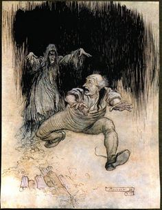 Arthur Rackham - The Ingoldsby Legends of Mirth and Marvels Second Edition 1905 - Made one grasshopper spring to the door — and was gone! [92]