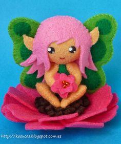 PDF sewing pattern to make a small flower fairy in felt by Kosucas Felted Wool Crafts, Felt Crafts, Pdf Sewing Patterns, Doll Patterns, Burning Flowers, Wooly Bully, Felt Angel, Crochet Cross, Flower Fairies