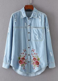 Embroidered Denim Blouse with Destroyed Detail|Disheefashion