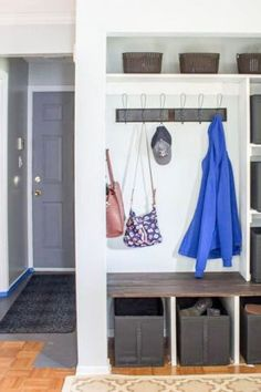 See how this entryway becomes more functional with these organization and storage ideas for boots, shoes, jackets and bags. Quick and budget friendly entryway closet storage solutions.