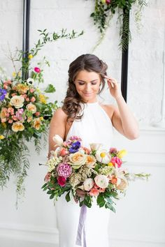 Painterly Chicago Wedding Inspo with Colorful Details Galore! | The Perfect Palette Wedding Bouquets, Floral Wedding, Wedding Colors, Wedding Dresses, Destination Wedding, Wedding Planning, Wedding Ideas, Chicago Wedding, Flower Girl Dresses