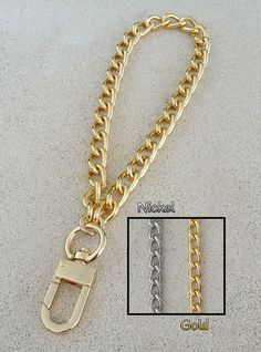 18d7062911f GOLD or NICKEL Chain Wrist Strap - Classy Curb Chain - 3 8