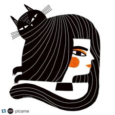 Check out @picame today! They are featuring some of my stuff on their blog! Thanks @picame ! ・・・ Discover the weird animals by @terryrunyan today on picamemag.com #cat #catonhead #girl #picame #art #shop #terryrunyan