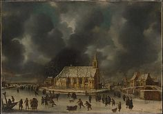 Johannes Beerstraten (Dutch, 1622–1666). Skating at Sloten, near Amsterdam. The Metropolitan Museum of Art, New York. Rogers Fund, 1911 (11.92) | Beerstraten drew and painted numerous views in Amsterdam and in nearby villages. The paintings usually feature one prominent building in a snow-dusted landscape, with ice skaters and other figures on a frozen waterway in the foreground. #olympics #iceskating