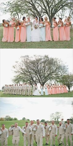 Peach and Mint Wedding. Cute glittered details and great party vibe at the reception.