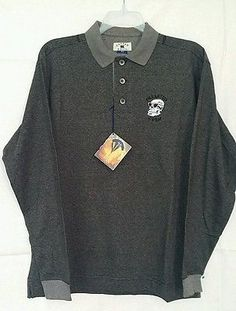 NWT Cutter & Buck Men's M, L/S Oyster 55% Cot 45% Poly Polo Shirt, Skeleton Crew