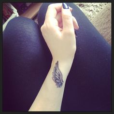 Angel Wing Tattoo - mine! White ink and more feather detail for me