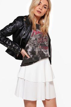 Double Layer Full Crepe Mini Skirt ivory