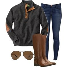 Boyfriend pullover, dark washed skinny jeans, aviators, and leather brown boots. Casual.