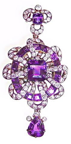 Amethyst and Diamond Pendant...
