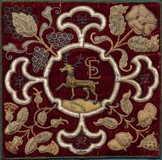 Embroidered crest and initials of Elizabeth of Shrewsbury (Bess of Hardwick). English, 16th century.