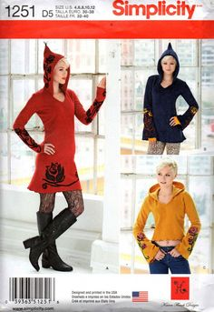 Simplicity 1251 Womens Stretch Knit Hooded Pixie Top Tunic or Dress with Felted Trim Sewing Pattern Size 4 - 12 UNCUT Factory Folded