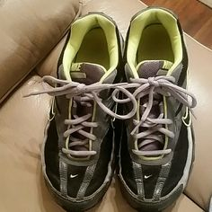 Nike initiator tennis shoes EUC Nike tennis shoes very clean ,barely worn, colors ,black ,gray , and neon yellow 😆these r unisex 7.5 ,wouldn't let me put half size . Nike Shoes Sneakers
