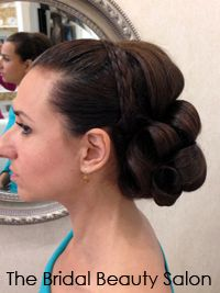 Bridal lowdo with headband braids